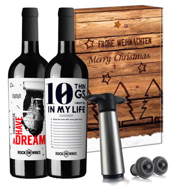 Wein-Geschenkset Italo Dreams inkl. Vacu Vin Pumpenset - ROCK WINES