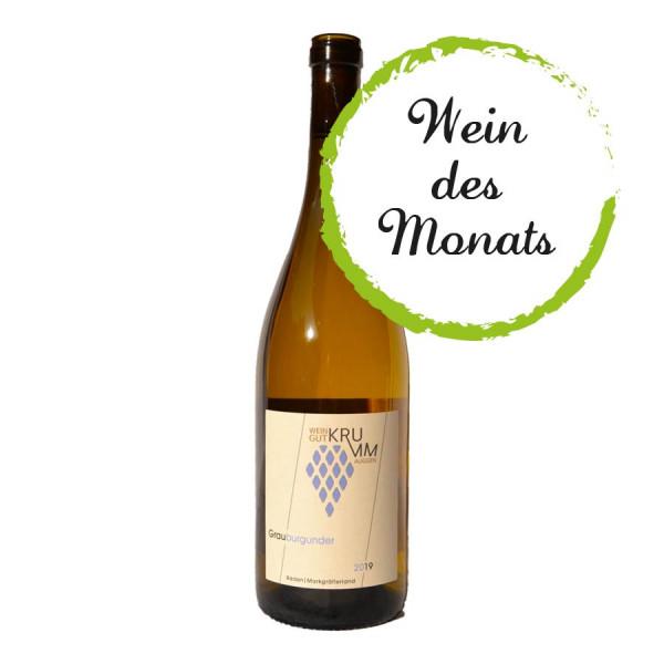 Grauburgunder Premium trocken 2019 (Barrique) WEINdesMONATS 10/2020 - Weingut Krumm