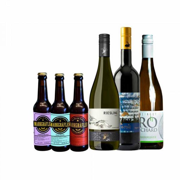 """Firmen Online Weinproben Paket """"Bier und Wein"""" - 6er Paket à 3xWein & 3xBier"""