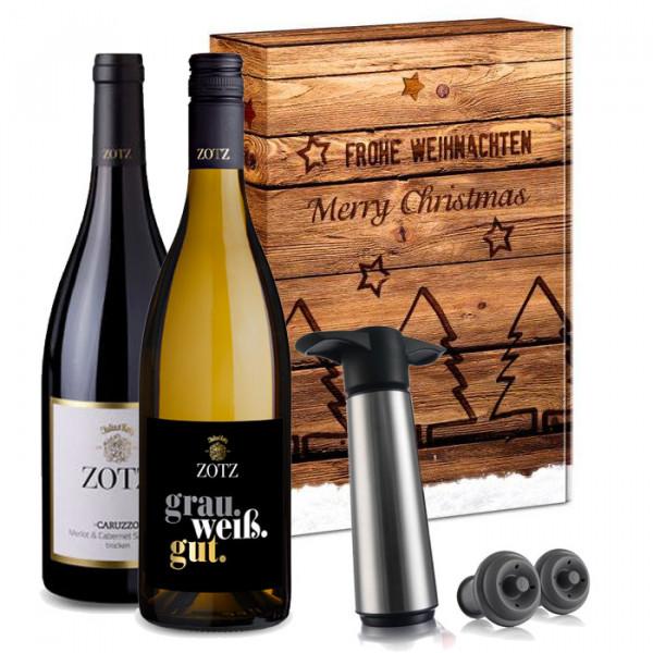 """Wein-Geschenkset Zotz """"Caruzzo, Grau.Weiß.Gut & Vacu Vin Pumpenset"""""""