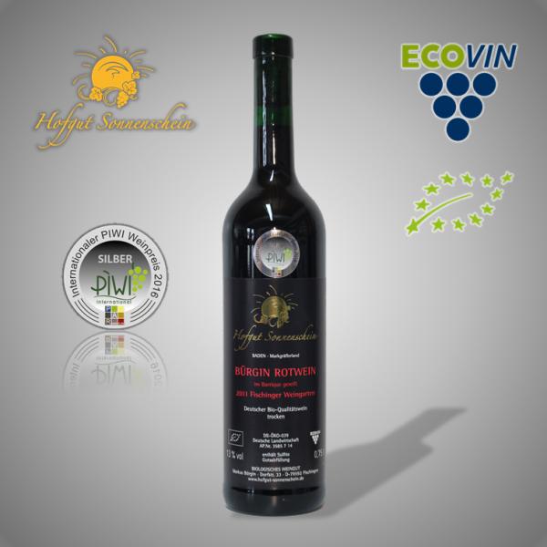 Bürgin Rotwein 2011 , Holzfass QbA trocken - Hofgut Sonnenschein - Biowein