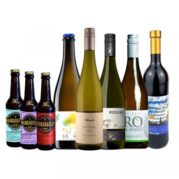 """Weinpaket """"Bier & Wein ... muss das sein?!"""" zur Online Weinprobe (on demand)"""