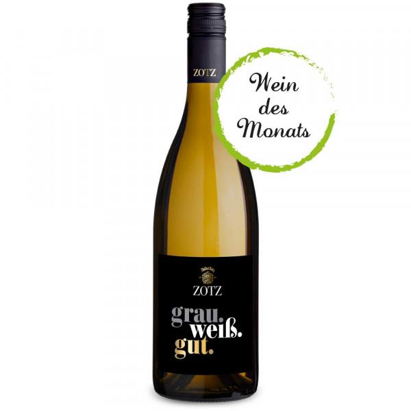 grau.weiß.gut. Weißwein Cuvée trocken 2019 WEIN des MONATS 04/2020 - Weingut Julius ZOTZ