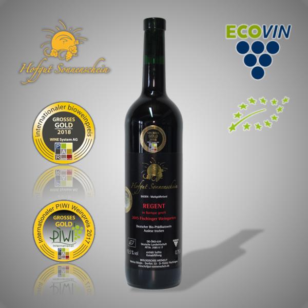 Regent Rotwein 2015, Barrique Auslese trocken - Hofgut Sonnenschein - Biowein