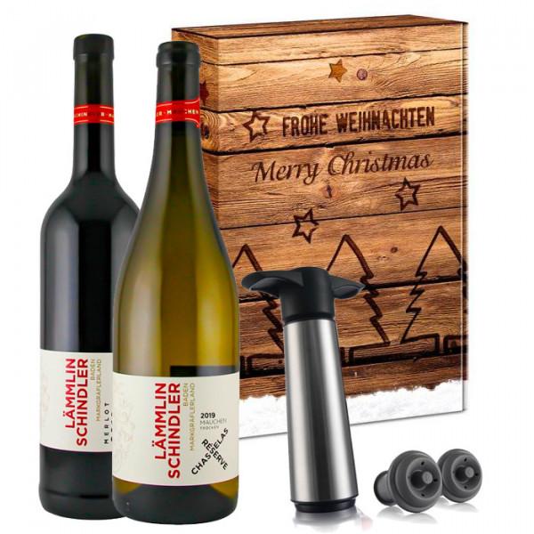 """Wein-Geschenkset """"Lämmlin-Schindler Chasselas & Merlot"""" inkl. Vacu Vin Pumpenset (Biowein)"""