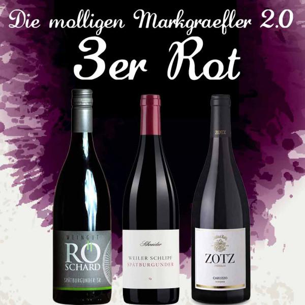 """3er Weinpaket ROT """"Die molligen Markgräfler 2.0"""" zur Online Weinprobe 2019"""