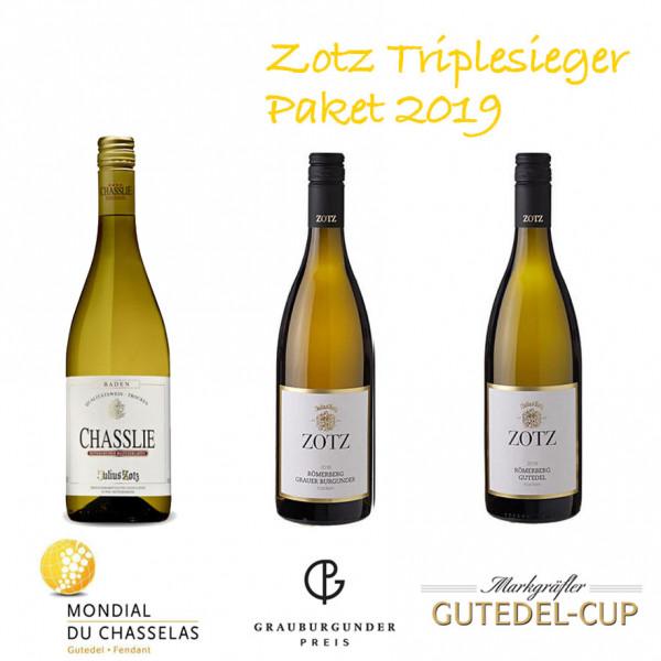 Zotz Triplesieger Paket 2019 - Gutedel, Chasslie & Grauburgunder vom Weingut Julius Zotz
