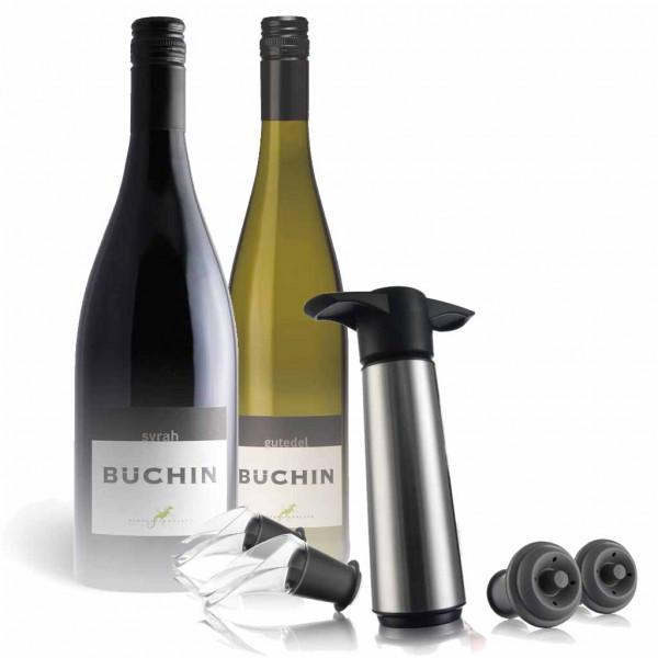Wein-Geschenkset Syrah & Gutedel + Vacu Vin Edelstahl Pumpenset