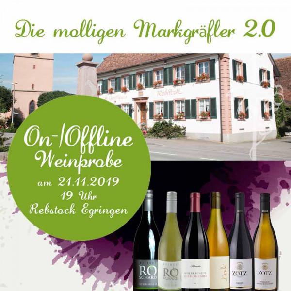 """Teilnahme """"On-/Offline Weinprobe"""" im Rebstock Egringen 21.11.2019"""