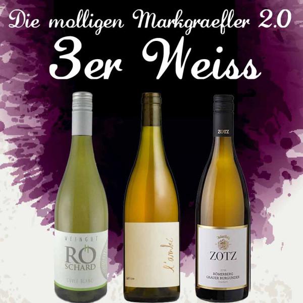 """3er Weinpaket WEIß - """"Die molligen Markgräfler 2.0"""" zur Online Weinprobe 2019"""
